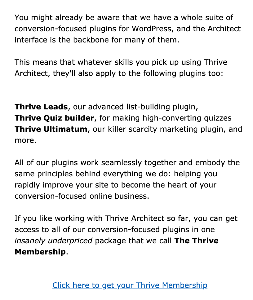E-Mail Marketing Thrive Themes Beispiel